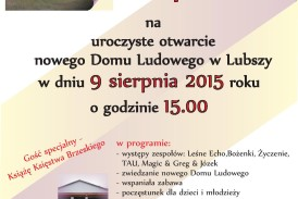 Uroczyste otwarcie Domu Ludowego w Lubszy już w najbliższą niedzielę