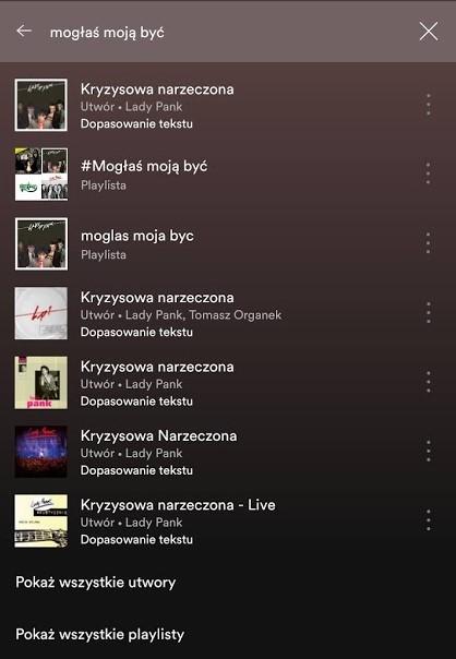 Spotify wyszukiwanie piosenek po tekście
